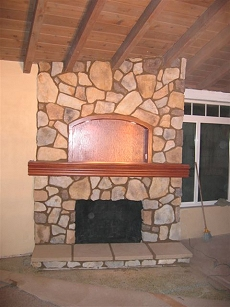 Eldorado Stone veneer fireplace - Click here for larger view