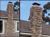 Rustic stone veneer chimney - Click here for larger view