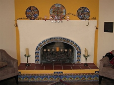Spanish stucco/plaster tile fireplace - Click here for larger view