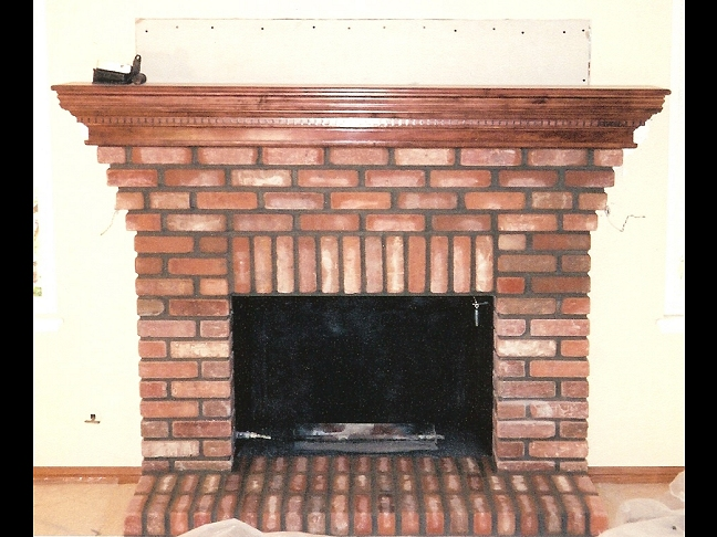 Brick Fireplace and hearth - custom wood mantel - San Diego Brick Fireplaces - Custom Masonry And Fireplace Design
