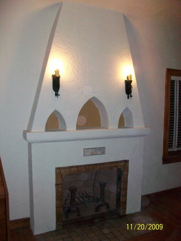 Tile Over Brick Fireplace >> Stucco and Plaster Fireplace Photos in San Diego - Custom