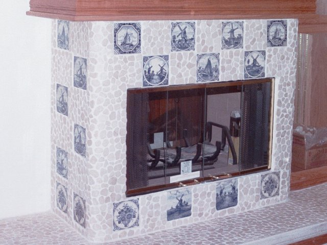 Custom Masonry Stone Tile Fireplace And Raised Hearth Inlaid Dutch Theme Decorative Tiles