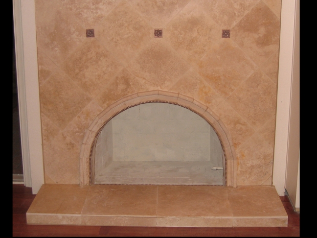 Travertine Tile Face Fireplace And Raised Hearth Decorative Arch
