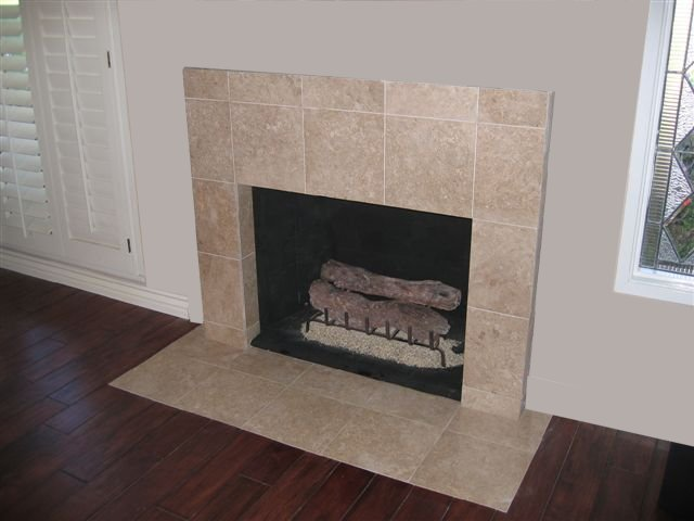 Travertine Tile Face Fireplace And Hearth Decorative Gas Logs