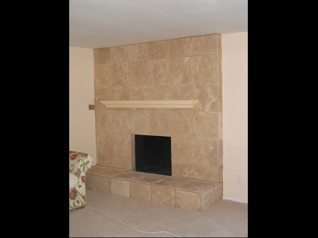 Travertine Tile Face Fireplace Custom Wood Mantel